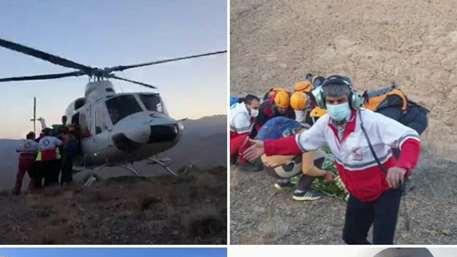 نجات کوهنورد آسیب دیده در ارتفاعات شاه قنداب شهرضا توسط تیم امداد و نجات کوهستان و امداد هوایی جمعیت هلال احمر استان اصفهان